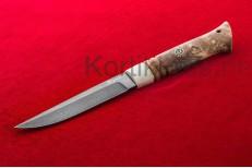 Нож Финский (Булатная сталь, стабилизированная карельская береза,кость)