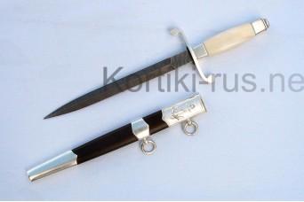 Кортик морской ВМФ России(серебрение,рукоять-клык моржа, ножны -черное дерево)