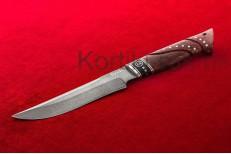 Нож Тайга (Булатная сталь, стабилизированная карельская береза, черный граб, резьба по дереву)